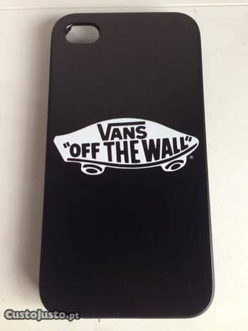Capa Plástico Vans Preto Logo iPhone 4 4s 5 5s SE