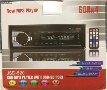 Auto-Rádio com Bluetooth; Comando; MP3; USB; SD